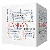 Kanban 3D Cube Word Cloud Concept