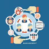 Flat Design Concept Of Business Management