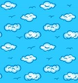 Drawn seamless pattern with clouds and birds