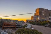 picture of fynbos  - Cable Car Station At Top of Table Mountain with the a viewing bench - JPG