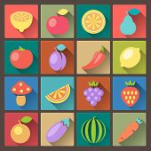 Set Of Sixteen Vegetables Icons In Flat Design Style