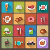 Set Of Grill And Sweets Icons In Flat Design Style