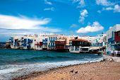 Little Venice Neighborhood Along The Shore Of Mykonos, Greece