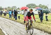 The Cyclist Daniel Navarro Garcia On A Cobbled Road - Tour De France 2014