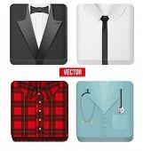 Premium Icons white shirt, tuxedo, doctor and village man cloth.