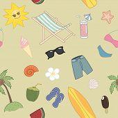 Summer Travel seamless pattern