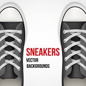 Background of simple black classic sneakers. Realistic Vector Illustration.