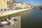 Students and River Arno, Florence.