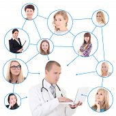 Social Network Concept - Young Male Doctor With Laptop And His Patients Isolated On White