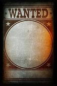 Wanted Poster Printed On A Grunge Wall