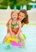 image of pool ball  - Portrait of happy mother and baby girl sitting on ball in swimming pool - JPG