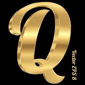 3d golden vector alphabet letter Q. Vintage font, eps 8