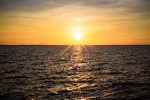 Sun Set Of The Sea At Chantaburi, Thailand.