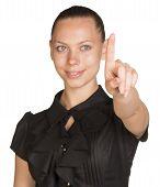 Woman touching virtual button