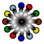 Abstract Composition With A Colored Balls On White Background