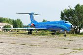 NIZHNY NOVGOROD. RUSSIA. JULY 31, 2014. STRIGINO AIRPORT.The TU-134 plane on an airfield.