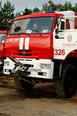 NIZHNY NOVGOROD. RUSSIA. JULY 31, 2014. STRIGINO AIRPORT.The fire truck at the airport.