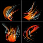 Set Burn flame fire  abstract background with place for your text.