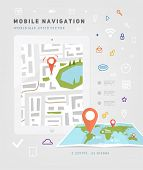 World Map. Mobile GPS Navigation. Tablet PC. Mobile Technologies Concept.