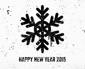 Vintage New Year Graffiti Label with Snowflake. Concrete Texture Wall. Happy New Year 2015