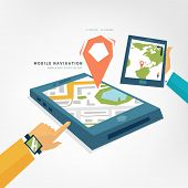World Map. Mobile Phone with GPS Navigation App. Tablet PC. Mobile Technologies Concept.