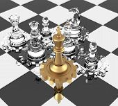 stock photo of three kings  - Chess King and gears signifying leadership - JPG