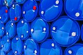 Blue Chemical Barrels Stacked Up.