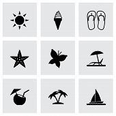 Vector black summer icons set