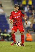 BARCELONA - AUG, 30: Daniel Carri�?�§o of Sevilla FC during spanish league match against Espanyol at the Estadi Cornella on August 30, 2014 in Barcelona, Spain