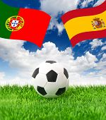 Football Field And National Flags Of Spain And Portugal