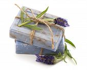 Closeup Of Lavender Soap Bars With Fresh Flowers
