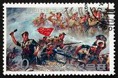 Postage Stamp North Korea 1990 Battle Scene, Victorious Soldiers