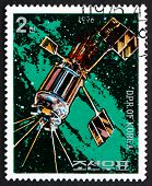 Postage Stamp North Korea 1976 Satellite, Day Of Space Flight