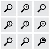 Vector black magnifier glass icons set