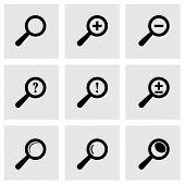 Vector black magnifier glass icons set