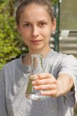 woman researcher testing the water quality