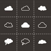 Vector black clouds  icons set