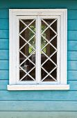Old Russian Rural House Fragment, Blue Wall And White Window