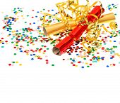 Golden Streamer, Party Cracker And Confetti