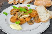 Breaded And Fried Mushrooms With Homemade Mayonnaise