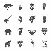 foto of drum-set  - Africa jungle ethnic culture travel icons set black isolated vector illustration - JPG