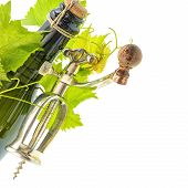 Bottle Of Wine With Corkscrew And Vine Leaves