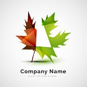 Leaf logo, seasonal autumn concept, branding logotype design poster