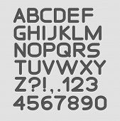 Strict alphabet rounded. Isolated on white. Bold. Vector illustration