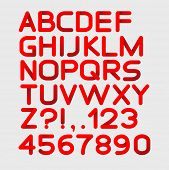 Paper red strict alphabet rounded. Isolated on white. Bold. Vector illustration