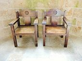 Armchairs In Church-abbey Of Mont Saint Michel