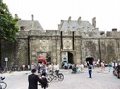 People Near Urban Gate Of Saint-malo City, France