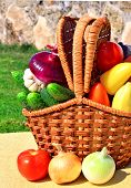 Ripe Vegetables In The Picnic Basket In Nature