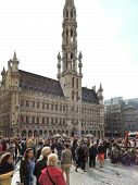 Crowds Of People Near Town Hall In City Brussels
