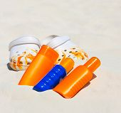 Beach Accessories. Sunblock Cream And Summer Shoes